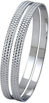 Platinum Bangle with Full Diamond Cut SJ PT 307 - Suranas Jewelove