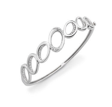 Platinum Hoop Bracelet with Diamonds SJ PTB 102 - Suranas Jewelove
