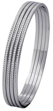 Thin Platinum Bangles with Diamond Cut SJ PT 314 - Suranas Jewelove