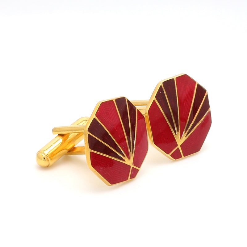 Side View of 925 Silver Cufflinks for Men with Red & Brown Enamel JL AGC 1