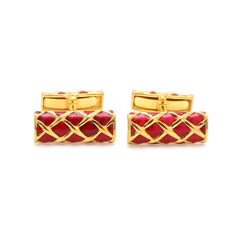 Front View of 925 Silver Cufflinks for Men with Red Enamel JL AGC 11