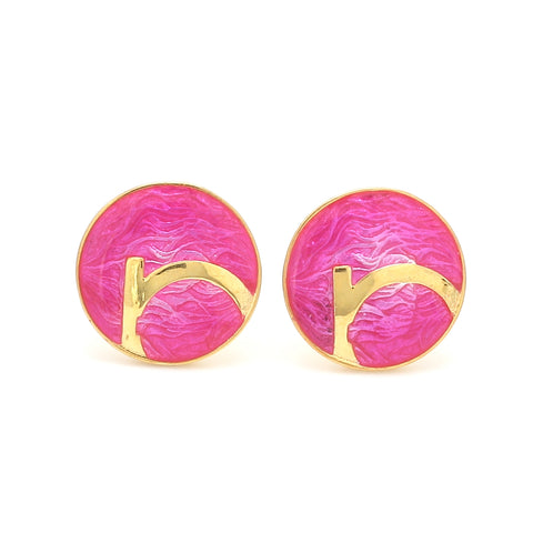 Front View of 925 Silver Cufflinks for Men with Pink Enamel JL AGC 16