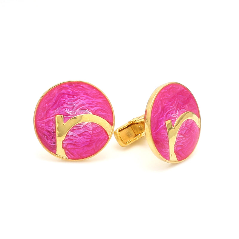 Side 2 View of 925 Silver Cufflinks for Men with Pink Enamel JL AGC 16