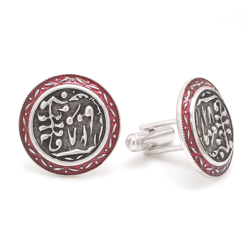 Side 2 View of 925 Silver Cufflinks for Men with Grey & Red Enamel JL AGC 19