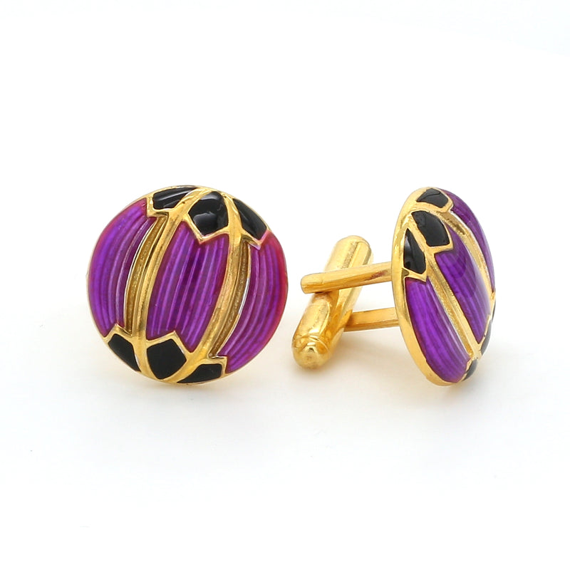 Side 2 View of 925 Silver Cufflinks for Men with Purple & Black Enamel JL AGC 22