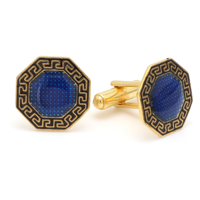 Side 2 View of 925 Silver Cufflinks for Men with Black & Blue Enamel JL AGC 24
