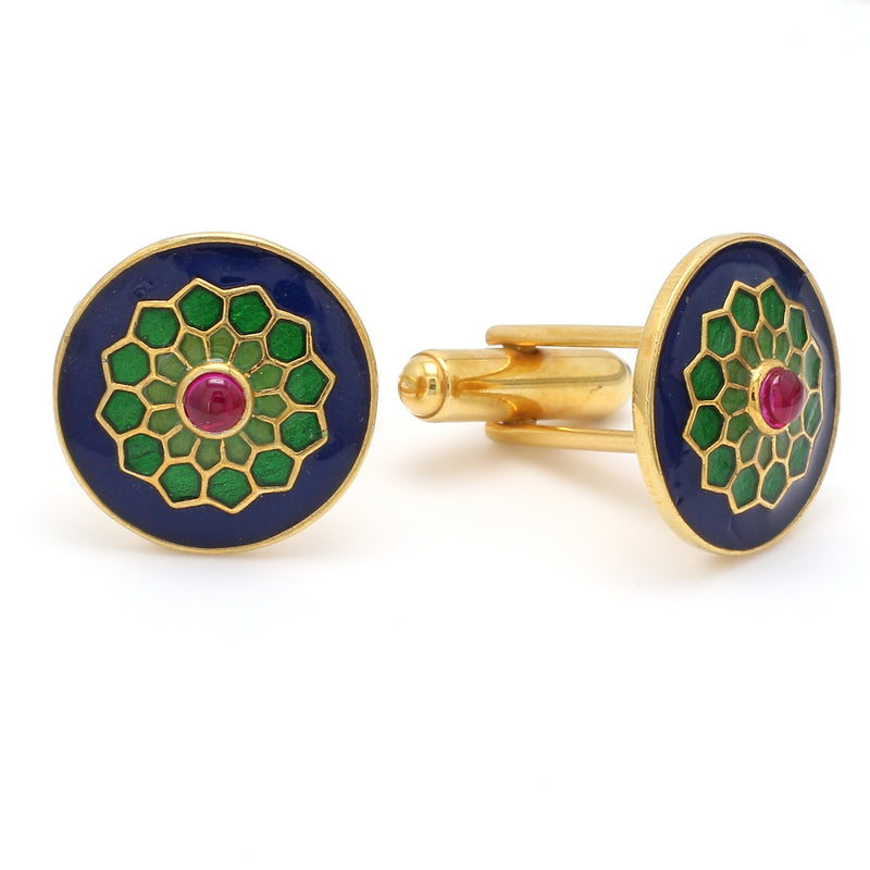 Side 2 View of 925 Silver Cufflinks for Men with Pink, Green & Blue Enamel JL AGC 25