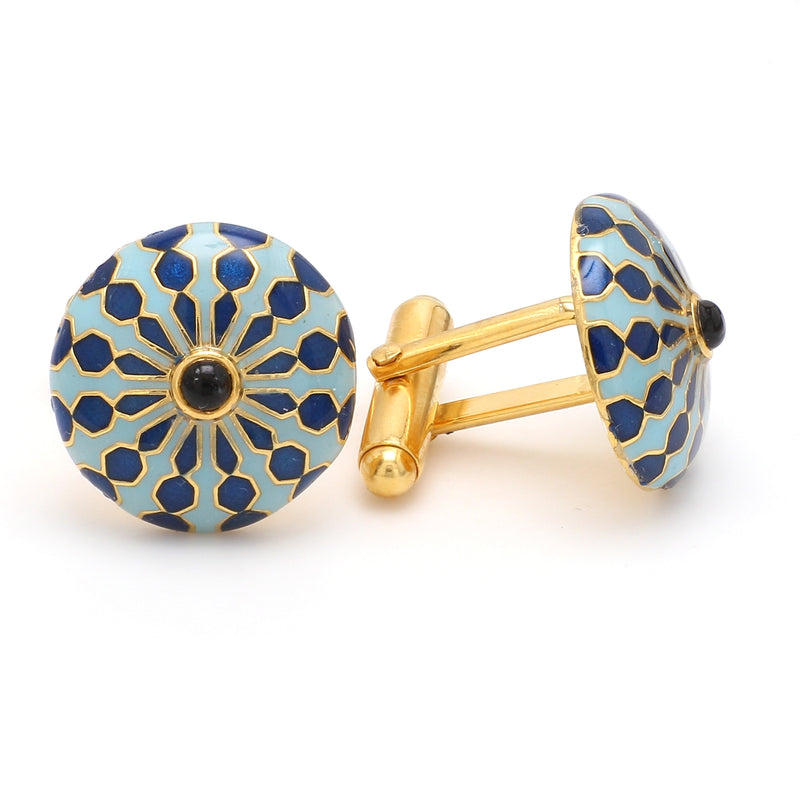 Side 2 View of 925 Silver Cufflinks for Men with Sky Blue, Black & Blue Enamel JL AGC 26