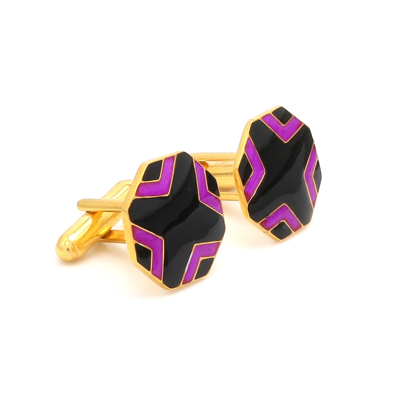 Side View of 925 Silver Cufflinks for Men with Black & Pink Enamel JL AGC 3
