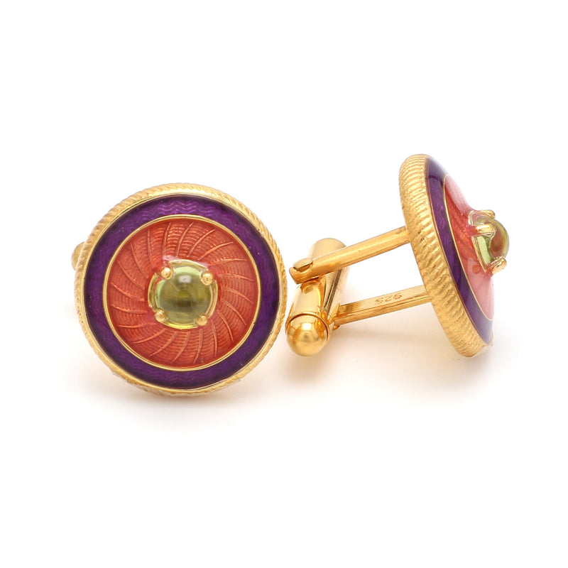Side 2 View of 925 Silver Cufflinks for Men with Yellow, Purple & Red Enamel JL AGC 31