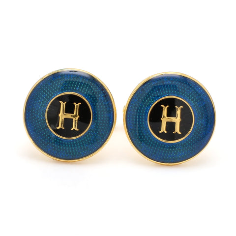 Front View of 925 Silver Cufflinks for Men with Black & Blue Enamel JL AGC 35