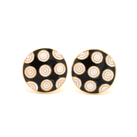 Front View of 925 Silver Cufflinks for Men with White & Black Enamel JL AGC 4