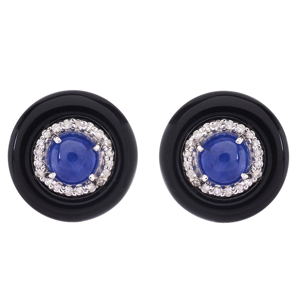 Cufflinks - 925 Sterling Silver Cufflinks For Men With Diamonds, Burma Blue Sapphire And Blank Onyx JL AGC 1009