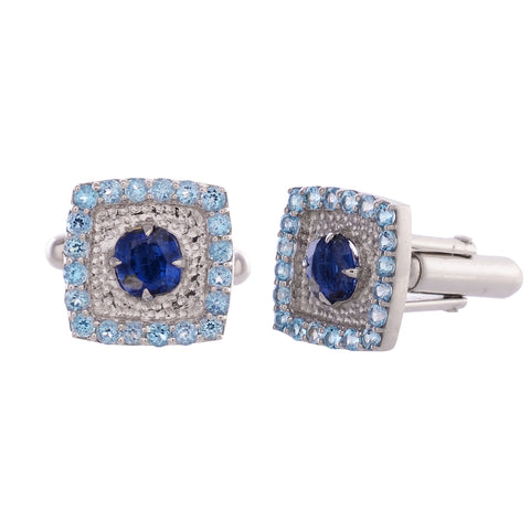 Cufflinks - 925 Sterling Silver Cufflinks For Men With Kyanite And Blue Topaz JL AGC 10030