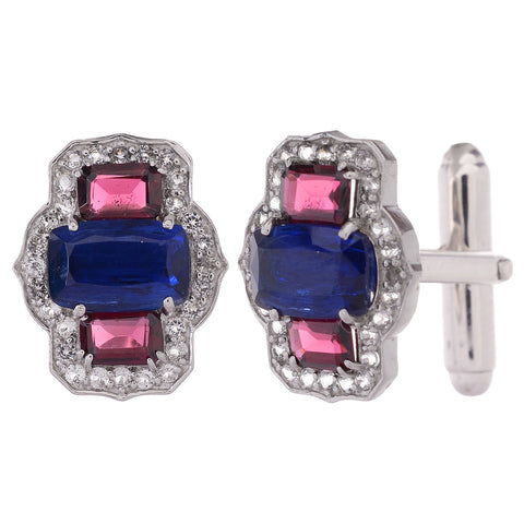 Cufflinks - 925 Sterling Silver Cufflinks For Men With Kyanite, Garnet And White Topaz JL AGC 10033