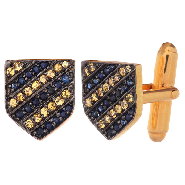 Cufflinks - 925 Sterling Silver Cufflinks For Men With Yellow And Blue Sapphire JL AGC 10039