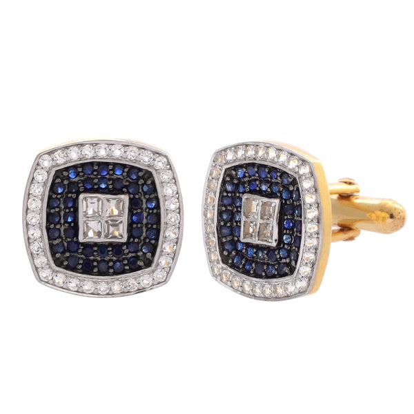 Cufflinks - Cufflinks For Men 925 Sterling Silver With Blue Sapphire JL AGC 10032