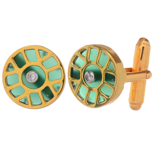 Cufflinks - Cufflinks For Men 925 Sterling Silver With Diamonds And Green Onyx JL AGC 10022