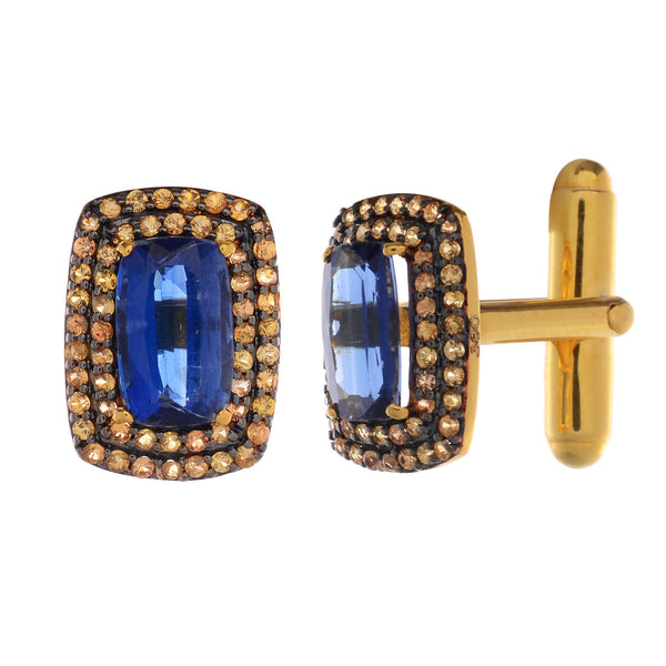Cufflinks - Cufflinks For Men With Kyanite And Yellow Sapphire In Gold & Silver JL AGC 10013