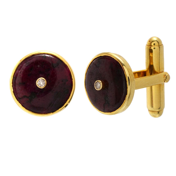 Cufflinks - Cufflinks For Men With Natural Ruby & Diamond In 925 Sterling Silver JL AGC 10018