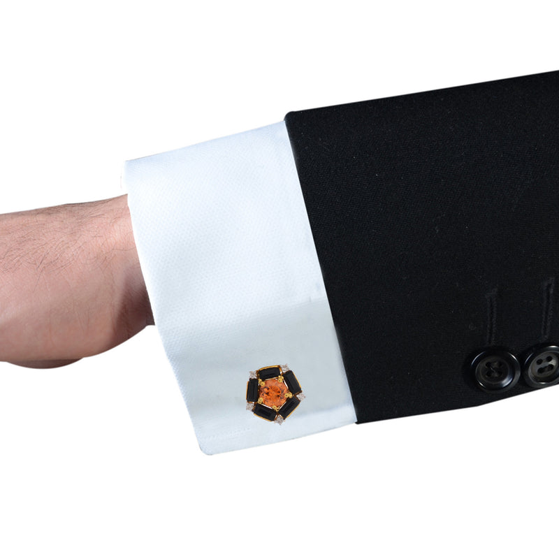 Cufflinks - Cufflinks For Men With Orange Garnet In 925 Sterling Silver JL AGC 1008