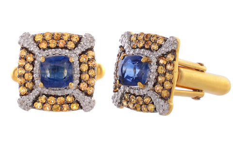 Cufflinks - Premium Gift For Men In India Cufflinks 925 Sterling Silver With Yellow Sapphire And Kyanite JL AGC 10029-C