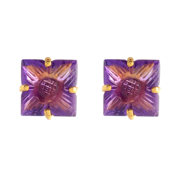 Cufflinks - Square Cufflinks For Men 925 Sterling Silver With Carved Amethyst JL AGC 1003