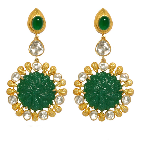 Earrings - Beautiful Gold Plated Sterling Silver 925 Earrings With Green Onyx Carving JL AG 1013