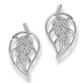 Dangling Platinum Earrings with Diamonds, Leaf Design