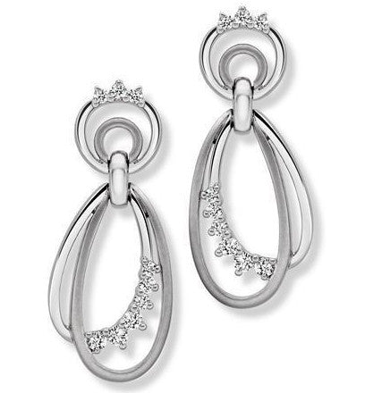 Dangling Platinum Earrings with Diamonds SJ PTO E 141