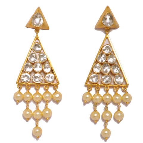 Earrings - Designer Gold Plated Sterling Silver 925 Chandeliers With Pearls JL AG 1014