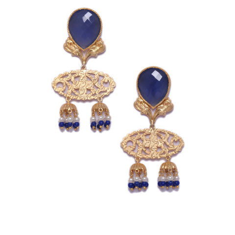 Earrings - Designer Gold Plated Sterling Silver 925 Earrings With Blue Calsi & Pearls JL AG 1021