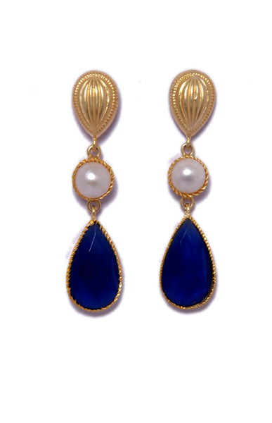 Earrings - Designer Gold Plated Sterling Silver 925 Earrings With Blue Calsi & Pearls JL AG 1042