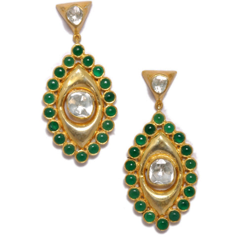 Earrings - Designer Gold Plated Sterling Silver 925 Earrings With Green Onyx  JL AG 1011