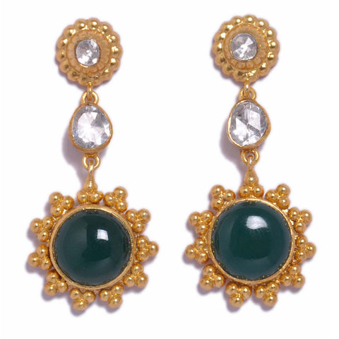 Earrings - Designer Gold Plated Sterling Silver 925 Earrings With Green Onyx JL AG 1016
