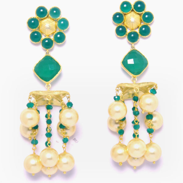 Earrings - Designer Gold Plated Sterling Silver 925 Earrings With Green Onyx & Pearls JL AG 1022