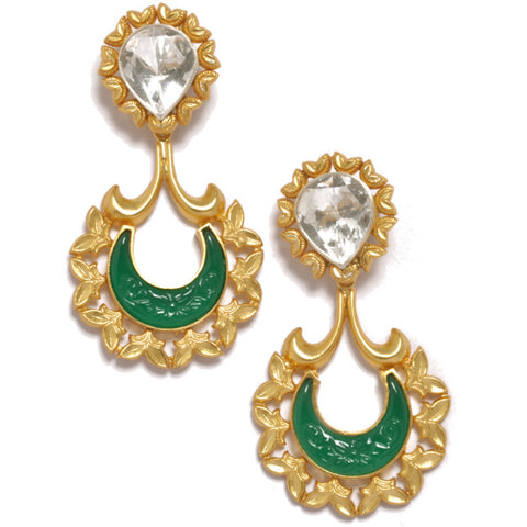 Earrings - Designer Gold Plated Sterling Silver Earrings With Green Onyx JL AG 1012
