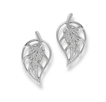 Designer Platinum Leaf Earrings with Diamonds SJ PTO E 134 in India