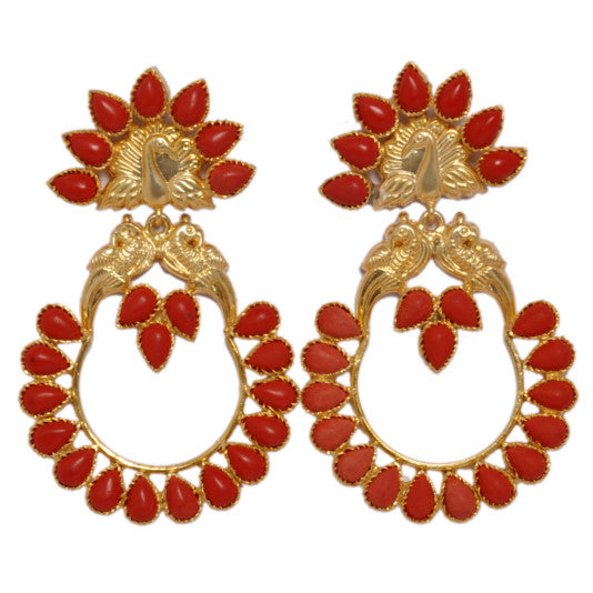 Earrings - Designer Sterling Silver Earrings With Gold Plated Bird Motifs & Red Corals JL AG 1008