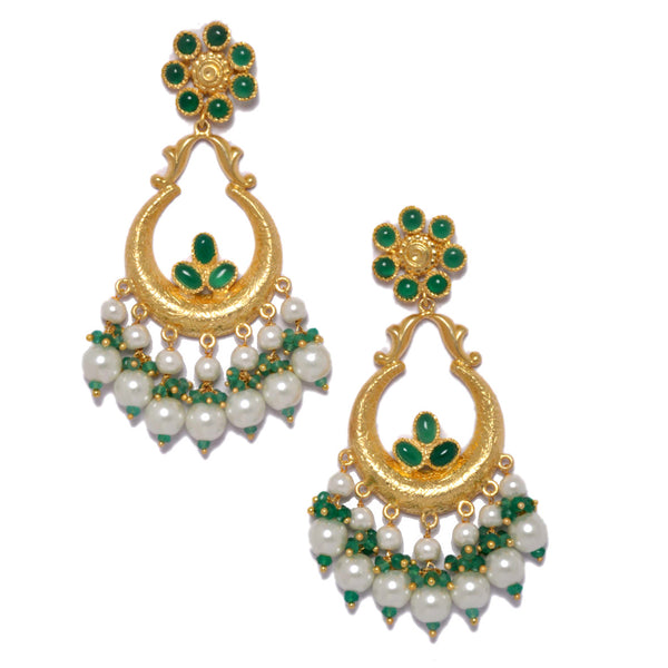 Earrings - Designer Sterling Silver Long Chandeliers With Green Onyx & Pearls JL AG 1033