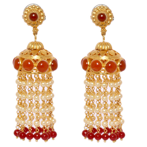 Earrings - Designer Sterling Silver Long Chandeliers With Jhalars, Red Onyx JL AG 1026
