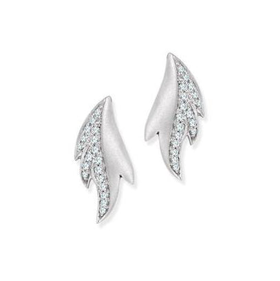 Dew Drops Platinum Earrings with Diamonds SJ PTO E 122