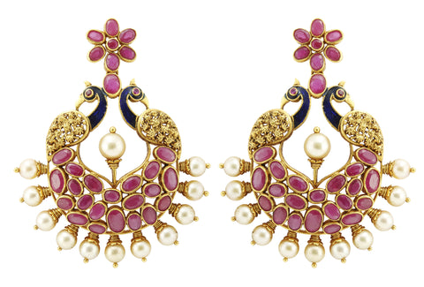 Gold Ruby Earrings - Gold Chand Bali Earrings With Rubies & Pearls Designed As Peacock JL AU 108