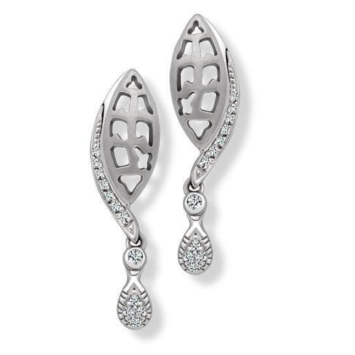 Laser Cut Platinum Earrings with Diamonds SJ PTO E 143 - Suranas Jewelove