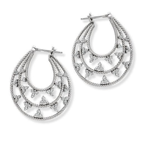 Platinum Bali Earrings with Diamonds SJ PTO E 136 - Suranas Jewelove
