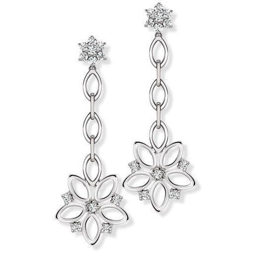 Platinum Chandeliers Earrings Pendant with Diamonds, Hanging Flowers SJ PTO E 148 - Suranas Jewelove  - 1