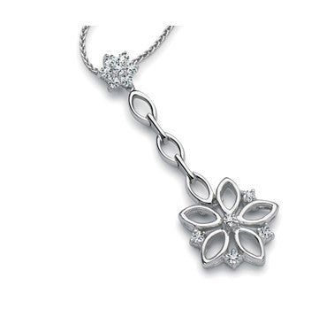 Platinum Chandeliers Earrings Pendant with Diamonds, Hanging Flowers SJ PTO E 148 - Suranas Jewelove  - 2