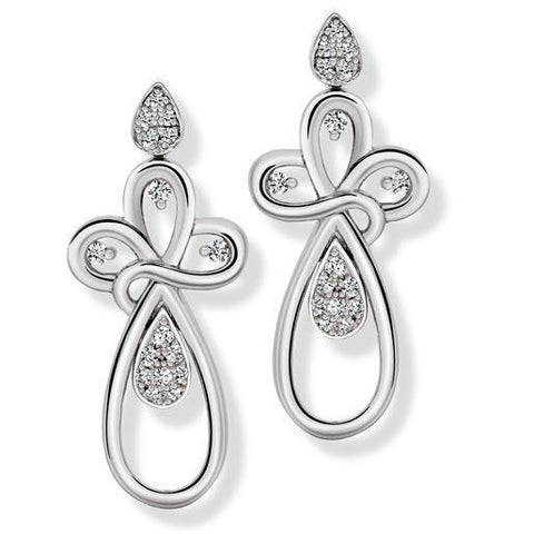 Platinum Dangler Earrings Pendant set with Diamonds SJ PTO E 146 - Suranas Jewelove  - 1