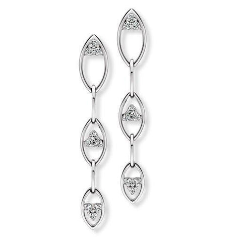 Platinum Dangler Earrings Pendant with Diamonds, Hanging Petals SJ PTO E 147 - Suranas Jewelove  - 1