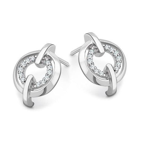 Platinum Earrings Classic Button Style SJ PTO E 116 - Suranas Jewelove